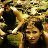 Amy was disciplined hard in the forest creek.