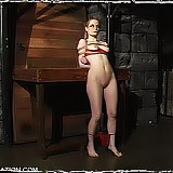 Slave Erin Sinclair in restrictive bondage, cock sucking and forced orgasm scene
