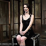 Submissive Mina Meow Bound with pussy clamps, caned and forced cum.