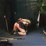 Her tight butt is in the center of attention all the time as she is pushing it out in the BDSM dungeon and getting ready for some spanking.