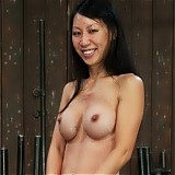 Hot Asian with big tits and nipples bound in custom metal devices, made to cum over and over and over.